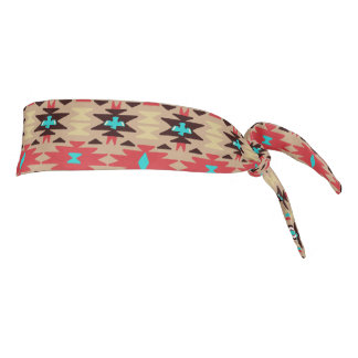 Red Teal Native American Vision Pattern Tie Headband