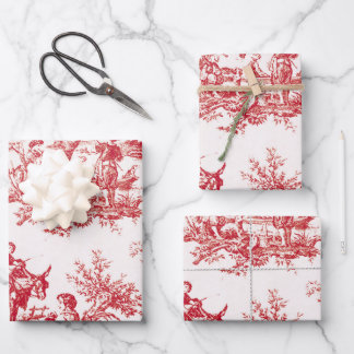 Red Toile Holiday Wrapping Paper Sheets