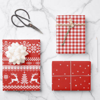 Red ugly Christmas sweater buffalo plaid and stars Wrapping Paper Sheets