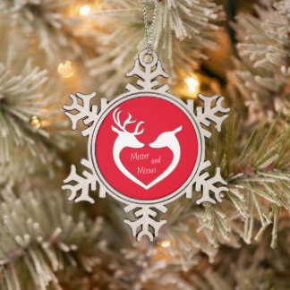 Red & White Mr & Mrs Deer Couple Snowflake Pewter Christmas Ornament
