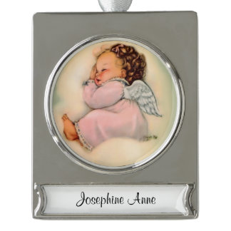 Religious Baby Girl Angel Sleeping Silver Plated Banner Ornament