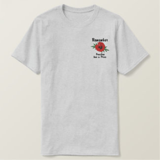 Remember Poppy - Customize Embroidered T-Shirt