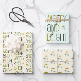 Retro Merry and Bright Midcentury Modern Christmas Wrapping Paper Sheets