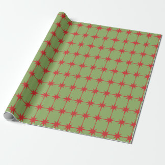 Retro Midcentury Modern Christmas Starbursts Wrapping Paper