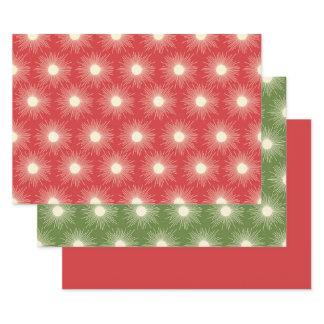 Retro Midcentury Modern Christmas Sunbursts Wrapping Paper Sheets