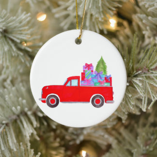 Retro Pickup Truck with Christmas Gifts Ceramic Ceramic Ornament