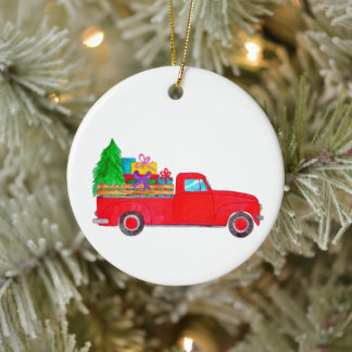 Retro Pickup Truck with Christmas Gifts Ceramic Ornament
