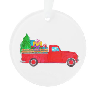 Retro Pickup truck with Christmas Gifts Ornament