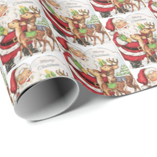 retro vintage Christmas cat Holiday tiled  Wrapping Paper