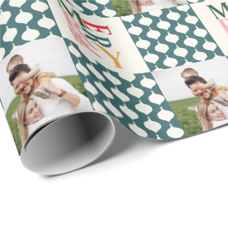 Retro vintage colorful typography Christmas photo Wrapping Paper