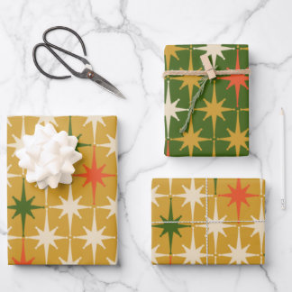 Retro Vintage Mid-Century Star Pattern Green Ochre Wrapping Paper Sheets