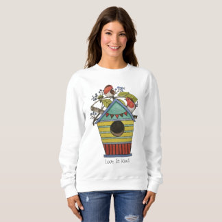 Robins With Blueberries And Birdhouse Sweatshirt