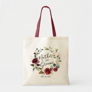 Rose Burgundy Floral Wreath Mother of the Groom Tote Bag