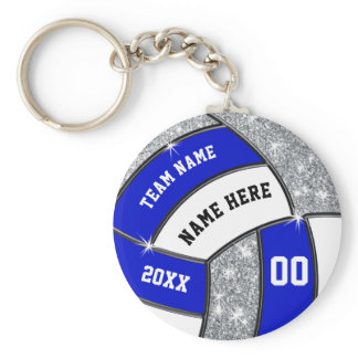 Royal Blue White Personalized Volleyball Keychains