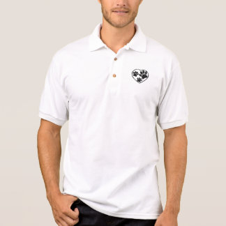 Rubber Stamped Heart And Pet Paw Prints Polo Shirt
