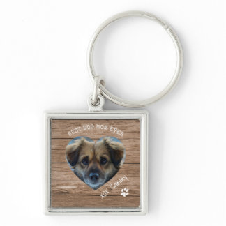 Rustic Best Dog Mom Ever Pet Photo & Paw Print Keychain
