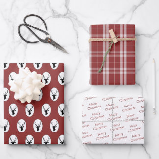 Rustic Black Reindeer with Red and White Tartan Wrapping Paper Sheets