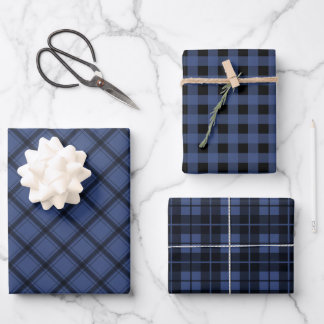 Rustic Blue Plaid Buffalo Check Mixed Pattern Wrapping Paper Sheets