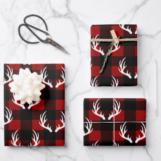 Rustic Buffalo Plaid & White Deer Antlers Wrapping Paper Sheets