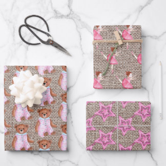 Rustic Burlap Pink Teddy Bears Ballerinas Stars Wrapping Paper Sheets