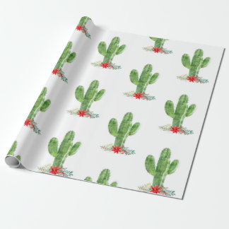 Rustic Christmas Cactus Floral Holiday Wrapping Paper