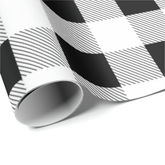 rustic farmhouse black white buffalo plaid party wrapping paper