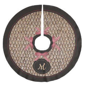 Rustic Farmhouse Monogram Red Checkered Bow Brushed Polyester Tree Skirt
