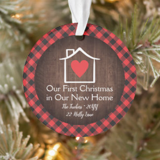 Rustic First Christmas New Home Heart Plaid Photo Ornament