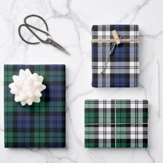 Rustic Green Blue Black Watch Plaid Christmas Wrapping Paper Sheets