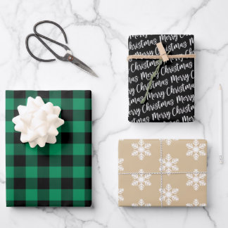 Rustic Green Buffalo Plaid Merry Christmas Wrapping Paper Sheets