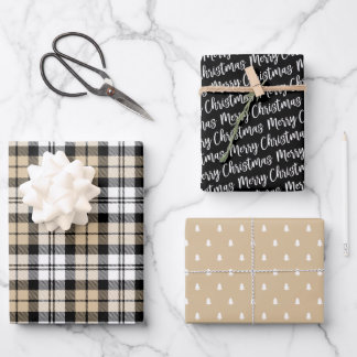 Rustic Kraft and Black Watch Plaid Merry Christmas Wrapping Paper Sheets