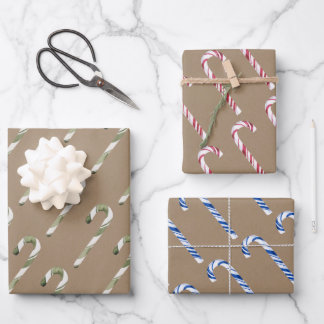 Rustic Kraft Christmas Candy Canes Wrapping Paper Sheets