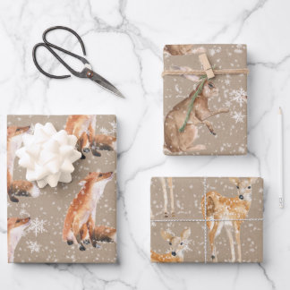 Rustic Kraft Elegant Snowy Winter Animals Wrapping Paper Sheets