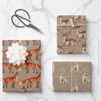 Rustic Kraft Red Fox Doe Hare & Snowflakes Wrapping Paper Sheets