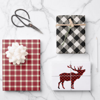Rustic Lumberjack Plaid Holiday Wrapping Paper Sheets