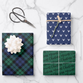 Rustic Navy and Green Watch Plaid Merry Christmas Wrapping Paper Sheets