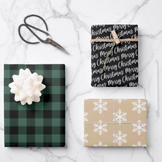 Rustic Pine Green Buffalo Plaid Merry Christmas Wrapping Paper Sheets