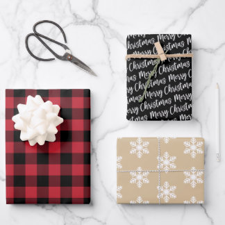 Rustic Red Buffalo Plaid Merry Christmas Wrapping Paper Sheets
