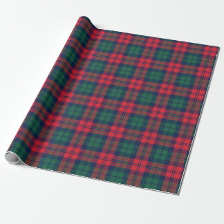 Rustic Red Green and Navy Holiday Tartan Plaid Wrapping Paper