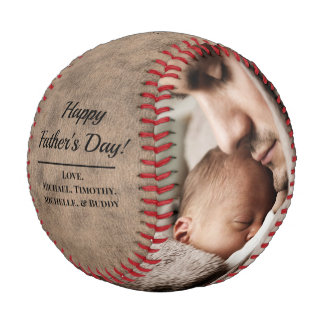 Rustic Vintage Photo Father's Day Baseball