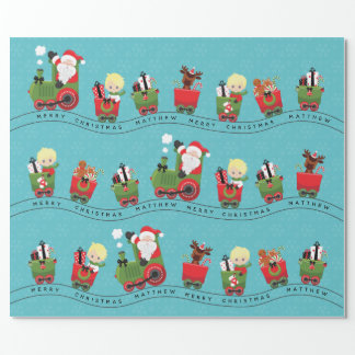 Santa & Blonde Boy on Train Wrapping Paper