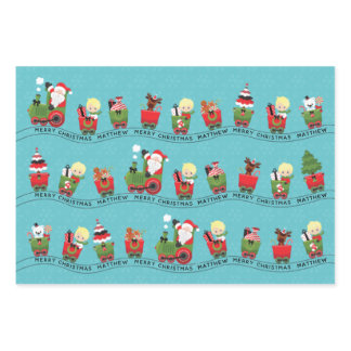 Santa & Blonde Boy on Train Wrapping Paper Sheets