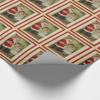 Santa Claus and Little Girl Vintage Christmas Wrapping Paper