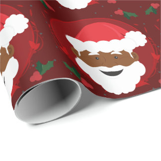Santa Claus Brown Skin Red Christmas Wrapping Paper