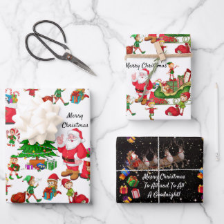 Santa Claus Christmas Tree Elves Reindeer Gifts Wrapping Paper Sheets