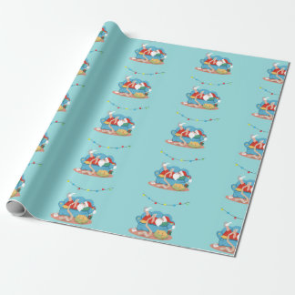 Santa Claus on the couch in pajamas Wrapping Paper