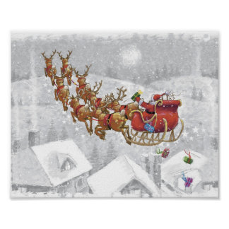 Santa Claus riding on sleigh with gift box Poster