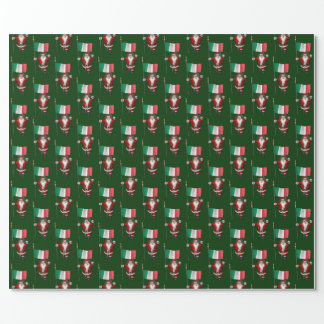 Santa Claus With Ensign Of Italy Wrapping Paper