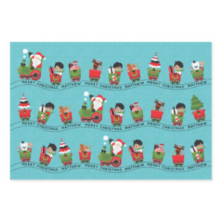 Santa & Multicultural Boy on Train Wrapping Paper Sheets