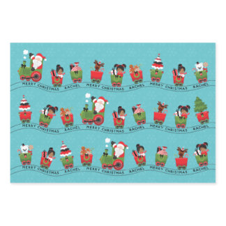Santa & Multicultural Girl on Train Wrapping Paper Sheets